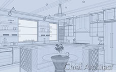 The blue glass house line drawing of kitchen allows you to see through partially transparent cabinets and central seating nook.