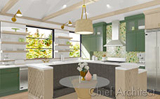 Physically based rendering technology shows realistic looking materials of a kitchen with green and brown cabinets, green and yellow bubbly glass basksplash tiles, and brass fixtures.