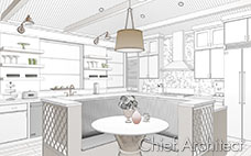 Black and white line drawing technical illustration with green, tan, gold and pink accents are some of the features in an island kitchen CAD scene.