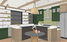 Vector view line drawing with colored fills illustrates a kitchen with green and tan cabinets, bubble tile backsplash and seating bench.