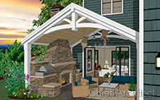 covered patio attached to house with open glass doors, outdoor fireplace, grill and seating area
