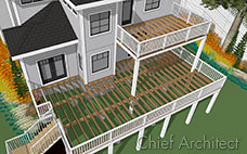 A vector line drawing render of two story deck showing exposed framing connected to a white house with black trim and orange flowers.