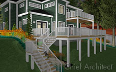 A night time scene shows off a two story deck attached to green shingle house with white trim and orange flowers.