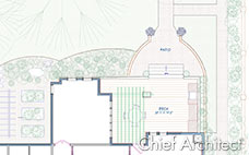 Two dimensional drawing plans of landscaped yard with patio, deck, garden beds for a residential house plan.