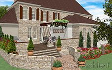 At the back of this stone house is a deck with seating under a grapevine and red flower surrounded trellis.