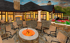 A watercolor style render shows off a stone patio and deck seating area surrounding a fire pit next to yellow house at sunset.