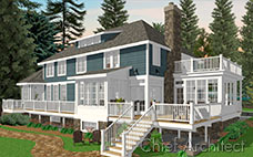 This blue shingle house has a hip roof, shed dormer, sunroom with roof deck and a main level back deck.