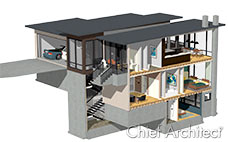 This cutaway of modern house illustrates the view inside of floor joists and furniture.
