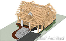 A render of gable roofed house, showing its framing, on a city lot with front walkway.