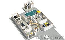 This dollhouse view rendering is looking down on a white modern house with cars, furniture, kitchen, pool house and pool.