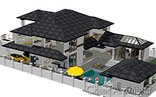 This is a large two story model of a fenced stucco house with black tile roof, pool and transparent walls to view furniture inside.