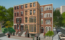 Brick brownstones, five-stories tall, line a city block with trees and cars parked along the roads.