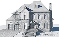 A technical illustration, with blue line drawing, of a shuttered, stone, two garage, traditional home.