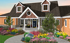 The rustic exterior of a gable house with dormers has pine siding, stone accents and large flowerbeds.