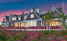 This grey Cape Cod mansion has pink flowers and palm trees, not to mention large windows gleaming in the sunset.