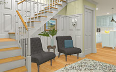 white wall paneling in entryway and stairs with seating nook and pale blue kitchen