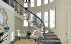 The curved floating stair in an elegant entryway flanks a two-story arched wall of windows and seating area.