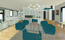 Open concept home with glass dining table and teal chairs shares space with a living room, bar cabinets, and kitchen in the background.