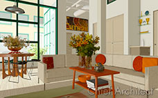 This is an industrial living room with tan and red colors, a dining table, and vases of flowers.