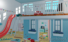 This is a physically-based rendering of colorful kids playroom with blue playhouse below a loft with ladders and a red slide.