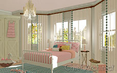 young girl room with pink bedding, white spindle bed, teal herringbone rug, chandelier and toys on the floor
