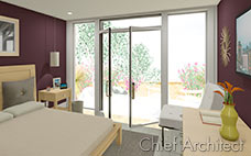 purple walls in master bedroom contains light wood bed, dresser and night stand with open doors to outdoor patio