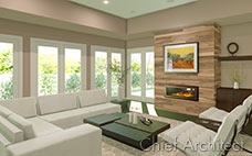 living room with wood paneled fireplace white sectional and chairs surrounded by windows