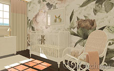 pastel pink baby nursery with floral wallpaper mural, white crib, rocking chair and dresser