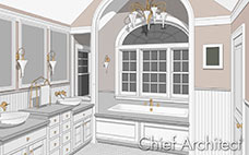 vector line drawing of elegant tan bath, brass fixtures, double vanity, white bead board walls, and arch ceiling over tub