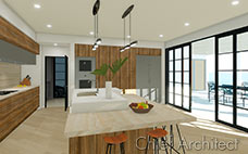 large modern kitchen with travertine counters, wood lacquer cabinets, center island and open patio door