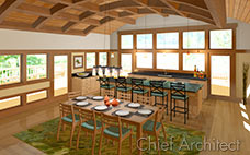 dining table and kitchen in craftsman style room surrounded by windows with curved barrel ceiling beams and green rug