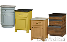custom cabinet styles and materials including blue curved front, yellow square, oak, and modern drawer cabinets