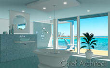 minimalist ocean view blue tile bath with walk-in shower, floating counter, freestanding tub and ceiling mounted faucet