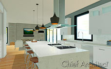 White kitchen with marble island and barstools with view of living room fireplace beyond