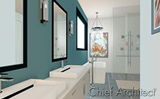 Elegant modern bath render with blue walls, glass shower, tub and chandelier