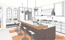 stylized vector line drawing of kitchen island seating, blue glass pendant lights, brown cabinets and modern appliances