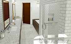 Double vanity bath with white subway tile walls, walk-in shower, tub, marble counters and floor tile