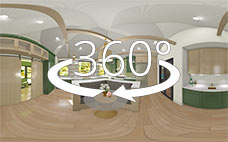 360 degree view of kitchen with green cabinets and green circle tile backsplash with central seating booth and glass table