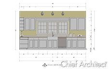 Elevation line drawing with NKBA dimensions of kitchen sink wall of white cabinets and windows