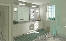 Master bath with white cabinets, marble counter, tub, glass shower with white subway tile and separate toilet room