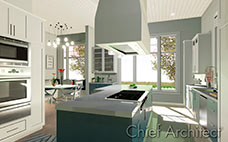 Physically based render of kitchen with double ovens, blue island, large cooktop and hood with bar and eat-in nook