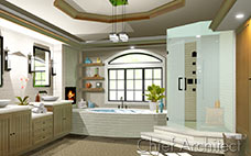 Coffered ceiling spa bath with wood double vanity, tub, glass tile shower, slate floor and fireplace