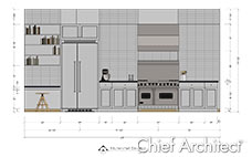 Kitchen wall elevation line drawing with dimensions of white cabinets and subway tile, large range and refrigerator