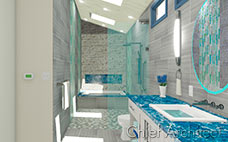 A stone and tile bath with walk-in shower, tub, and aqua tile and counters.