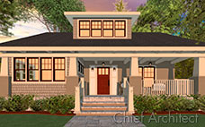 A sunset render of a craftsman bungalow house with a large porch and tan shingles.