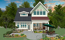 A teal-shingled cottage house with a copper accent roof, outdoor fireplace seating, and a large patio.
