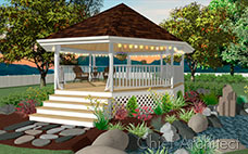 A white gazebo next to a pond with a shingled roof, lattice, glowing string lights, and stepping stones.