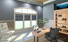 A physically-based render of a home office with a desk, bookshelf, accent chair, and large window.
