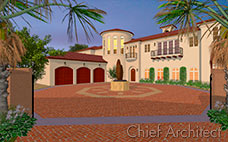 An Italian stucco manor with red tile roof, circular brick drive with a statue, three-car garage, balconies, and turret.