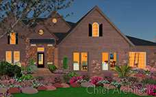 A brick suburban house at night with a stone patio, pink flowers, and a view of the interior.